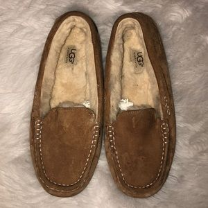 Ugg brown suede slippers, size 10